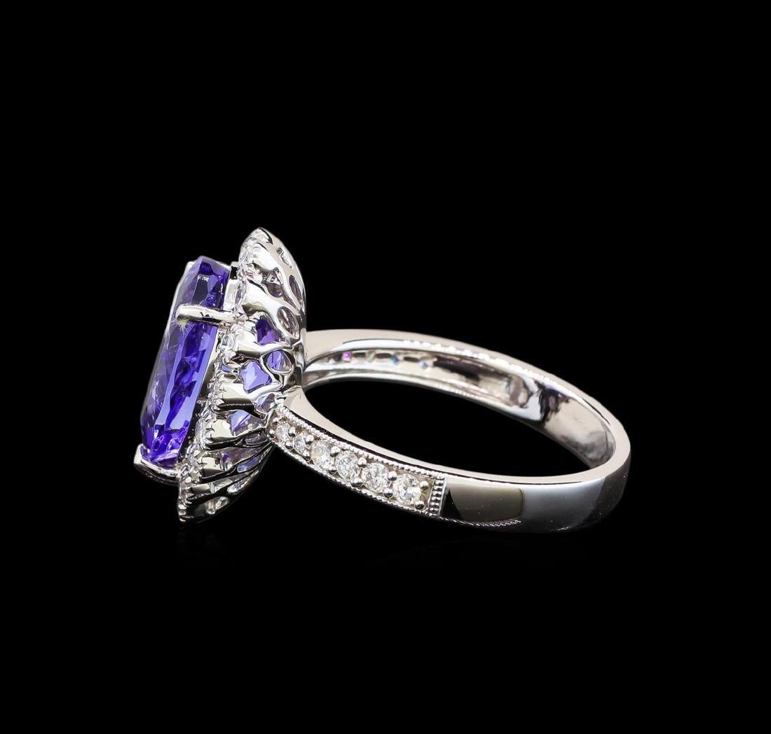14KT White Gold 3.73 ctw Tanzanite and Diamond Ring - 3