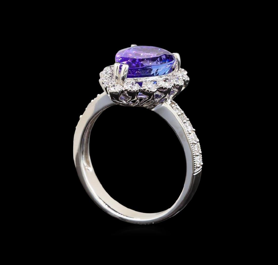14KT White Gold 3.73 ctw Tanzanite and Diamond Ring - 4