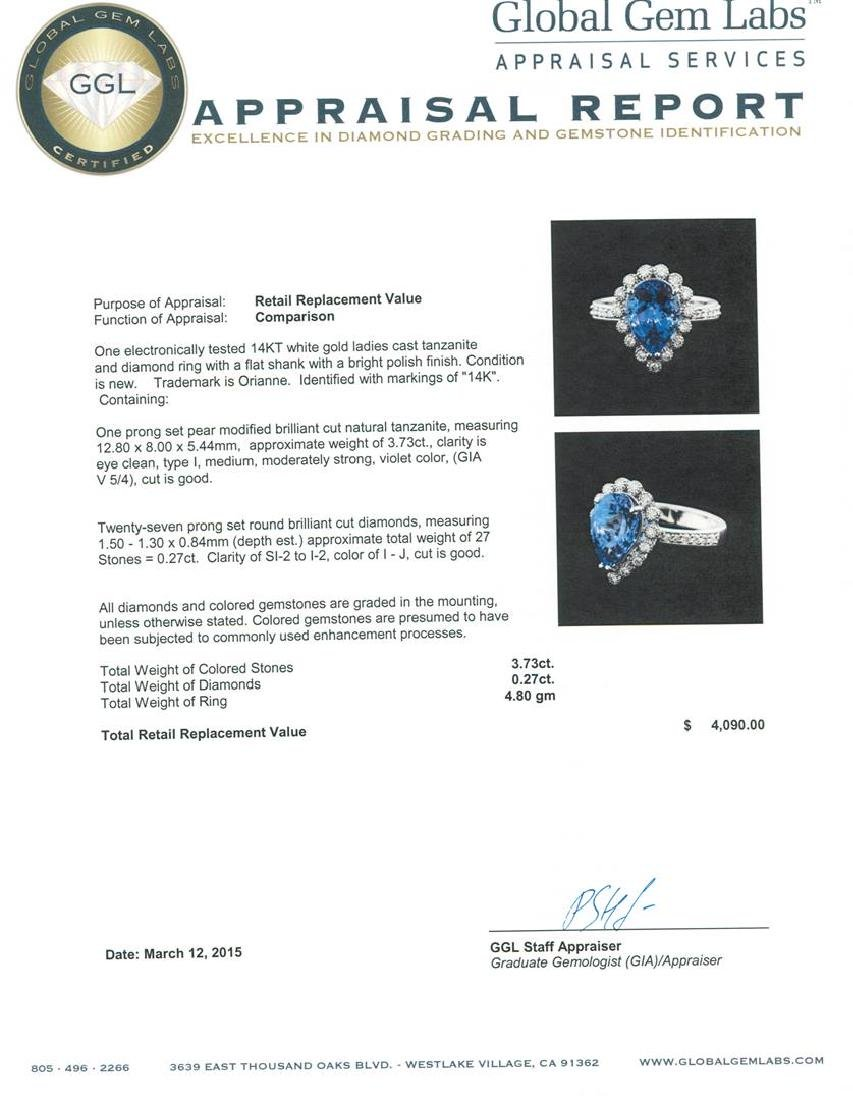 14KT White Gold 3.73 ctw Tanzanite and Diamond Ring - 5