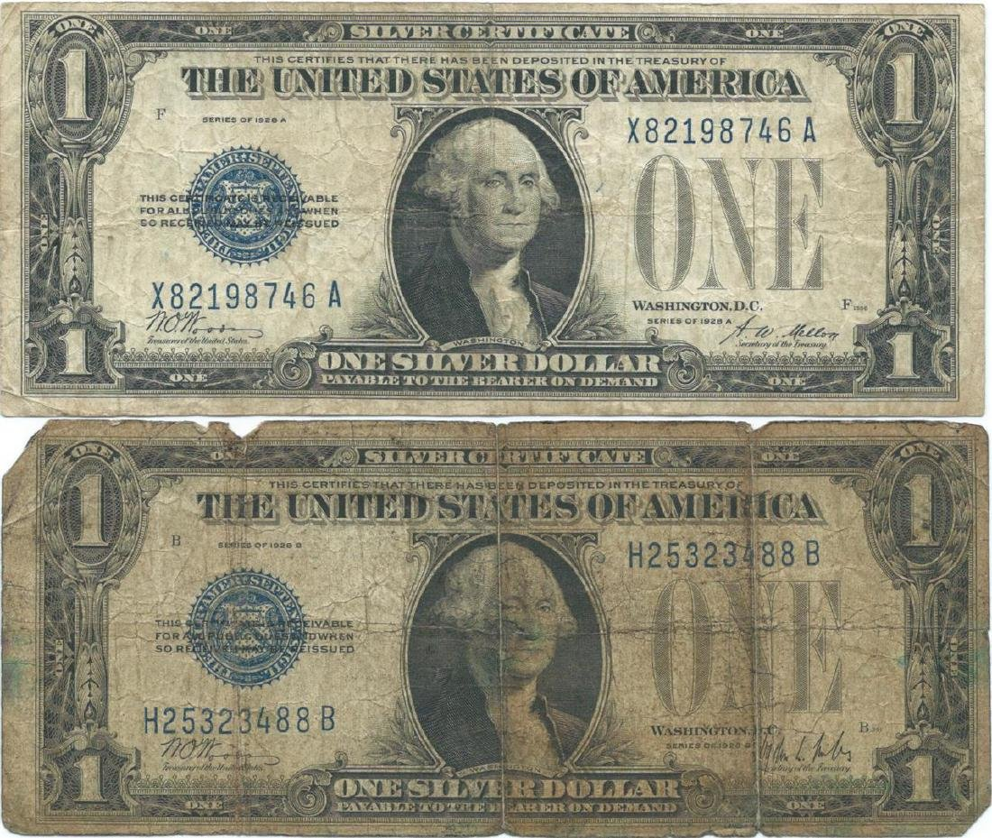 1928 $1 Silver Certificate Currency Lot of 2 - 2