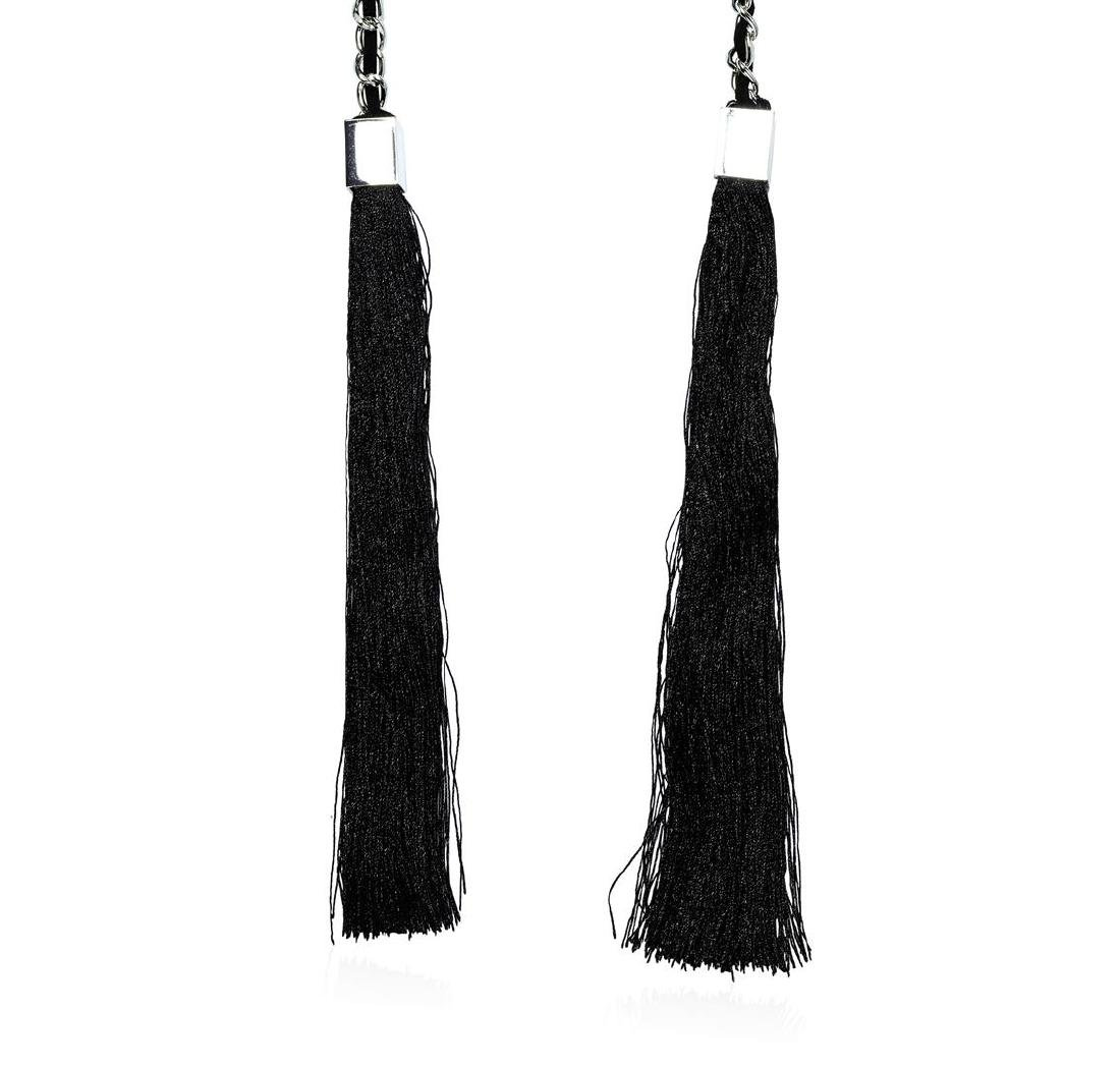 Double Silk Tassel Braided Necklace - Rhodium Plated - 2