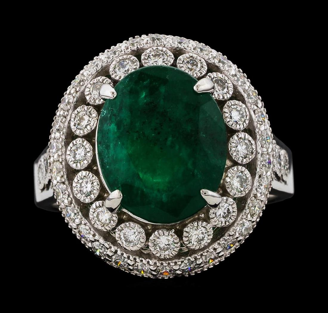4.75 ctw Emerald and Diamond Ring - 14KT White Gold - 2