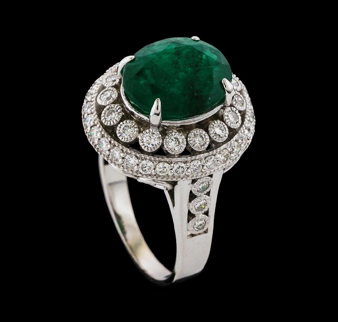 4.75 ctw Emerald and Diamond Ring - 14KT White Gold - 5