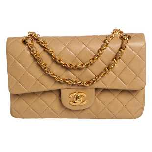 b265ce307b2f Chanel Vintage Beige Quilted Lambskin Leather Small
