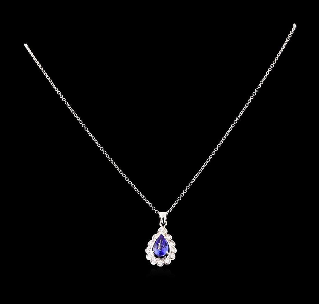 1.82 ctw Tanzanite and Diamond Pendant With Chain -