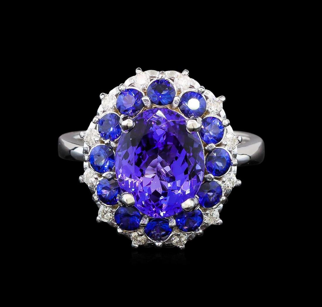 14KT White Gold 3.54 ctw Tanzanite, Sapphire and - 2