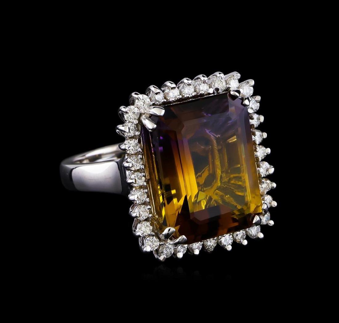 11.85 ctw Ametrine Quartz and Diamond Ring - 14KT White