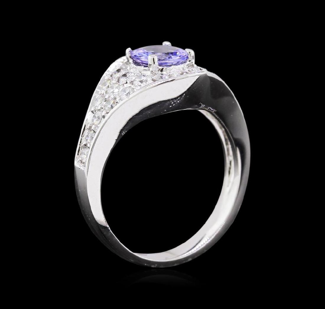0.90 ctw Tanzanite and Diamond Ring - 14KT White Gold - 3