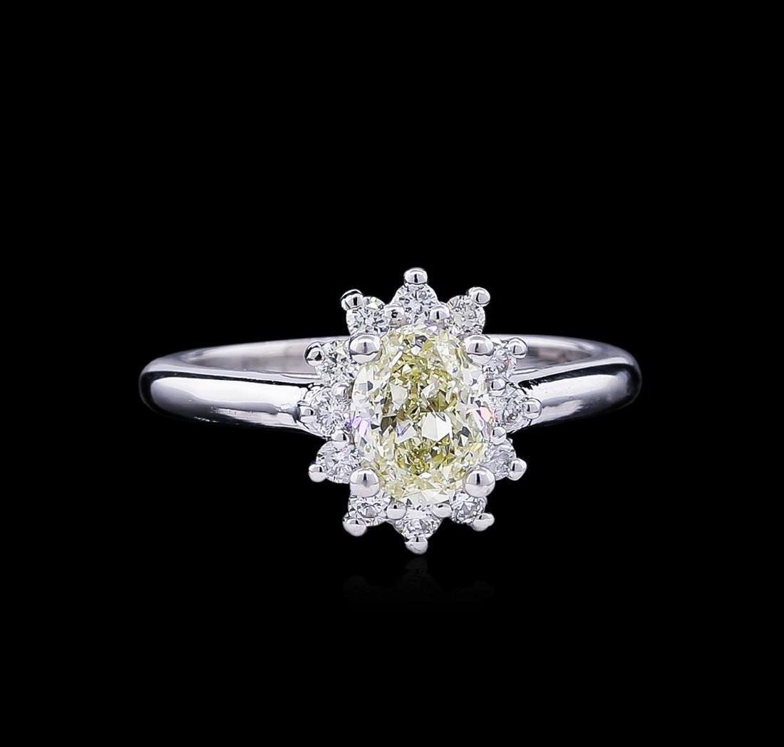 1.37 ctw Fancy Light Yellow Diamond Ring - 14KT White - 2
