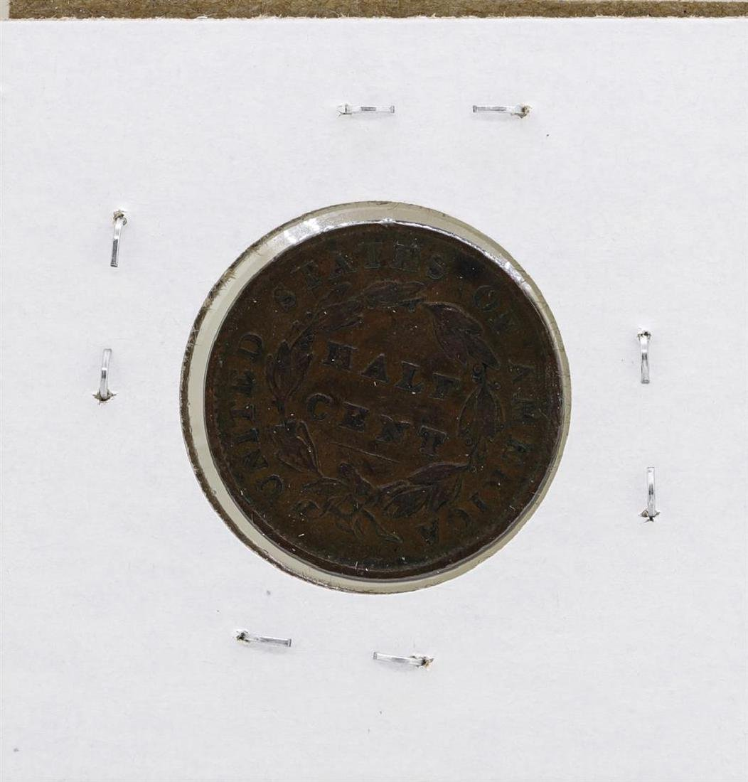 1835 Draped Bust Half Cent Coin - 2