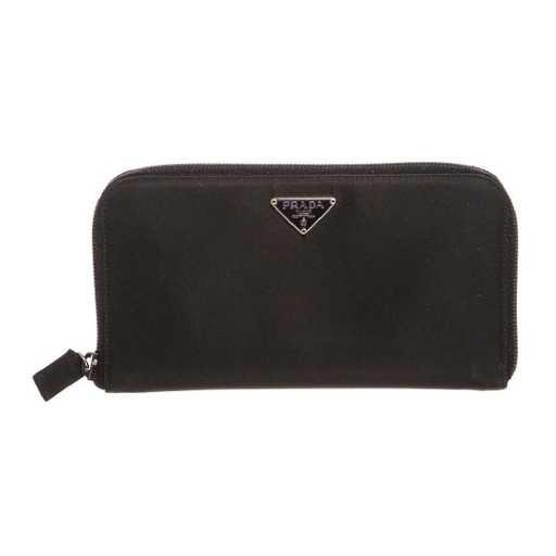 f9e33dfacf1a Prada Black Nylon Leather Zipper Wallet. placeholder