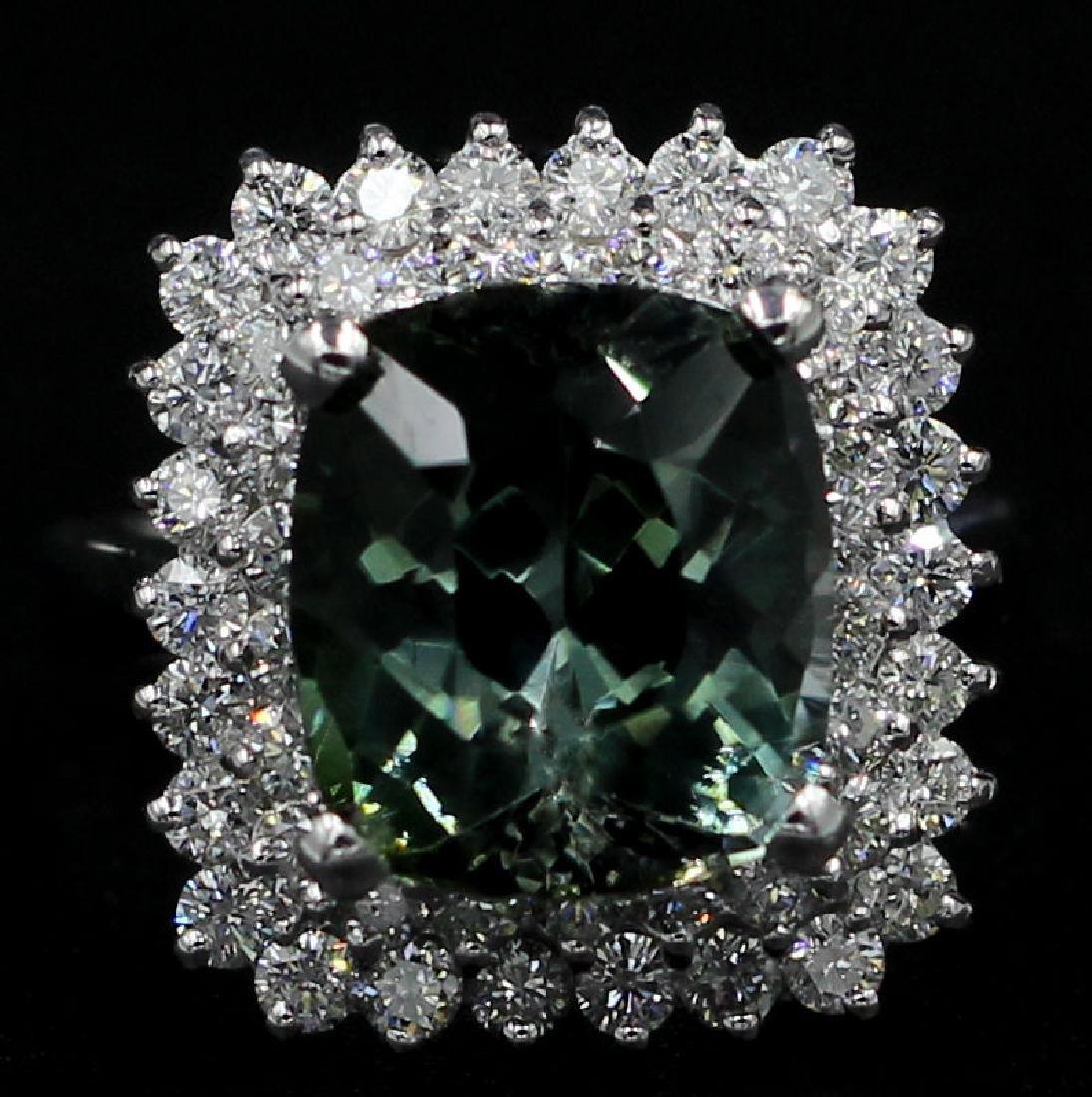8.39 Carat Oval Cut Natural Green Tourmaline Diamond