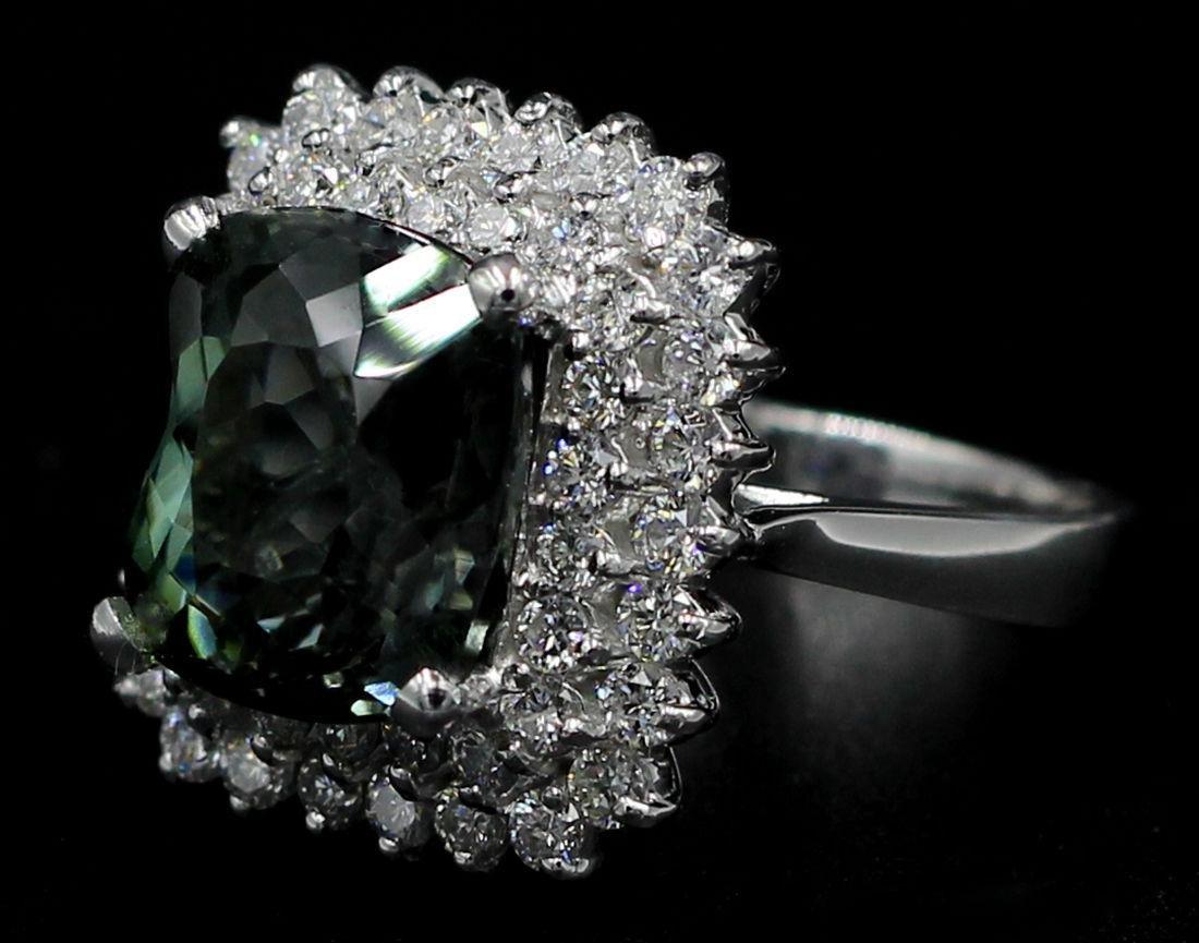 8.39 Carat Oval Cut Natural Green Tourmaline Diamond - 2