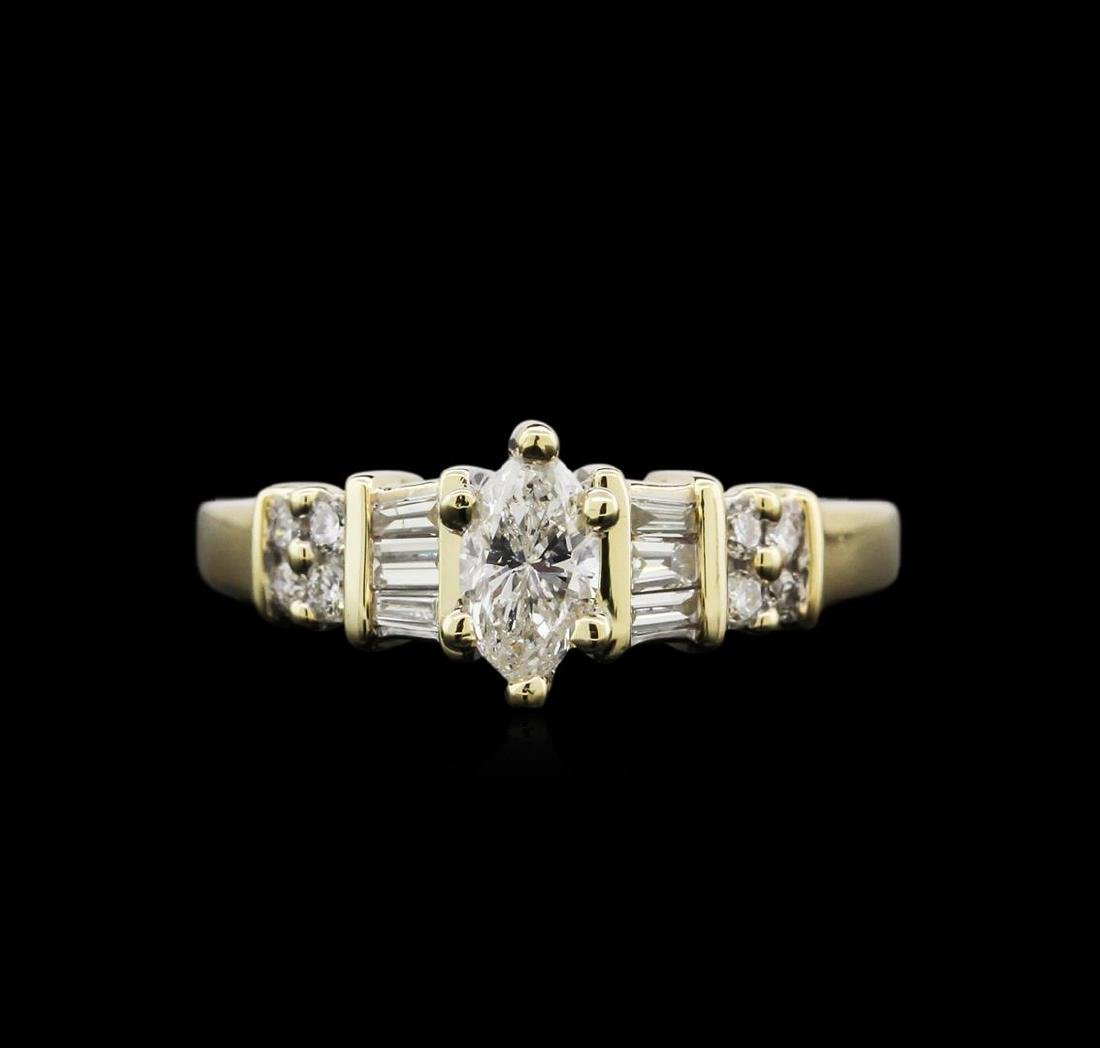 0.79 ctw Diamond Ring - 14KT Yellow Gold - 2