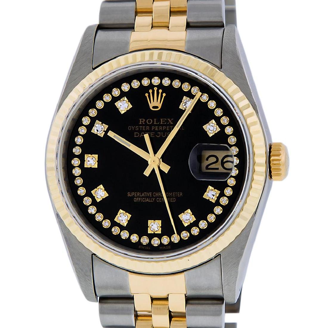 Rolex Mens 2 Tone 14K Black VS Diamond 36MM Datejust