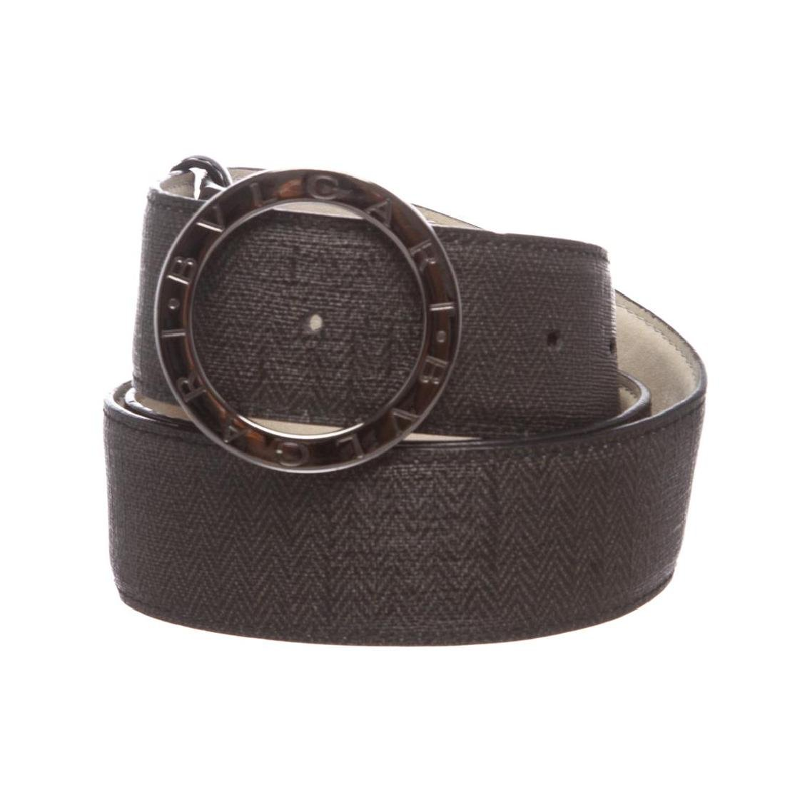 Bvlgari Black Gray Coated Canvas Leather Belt
