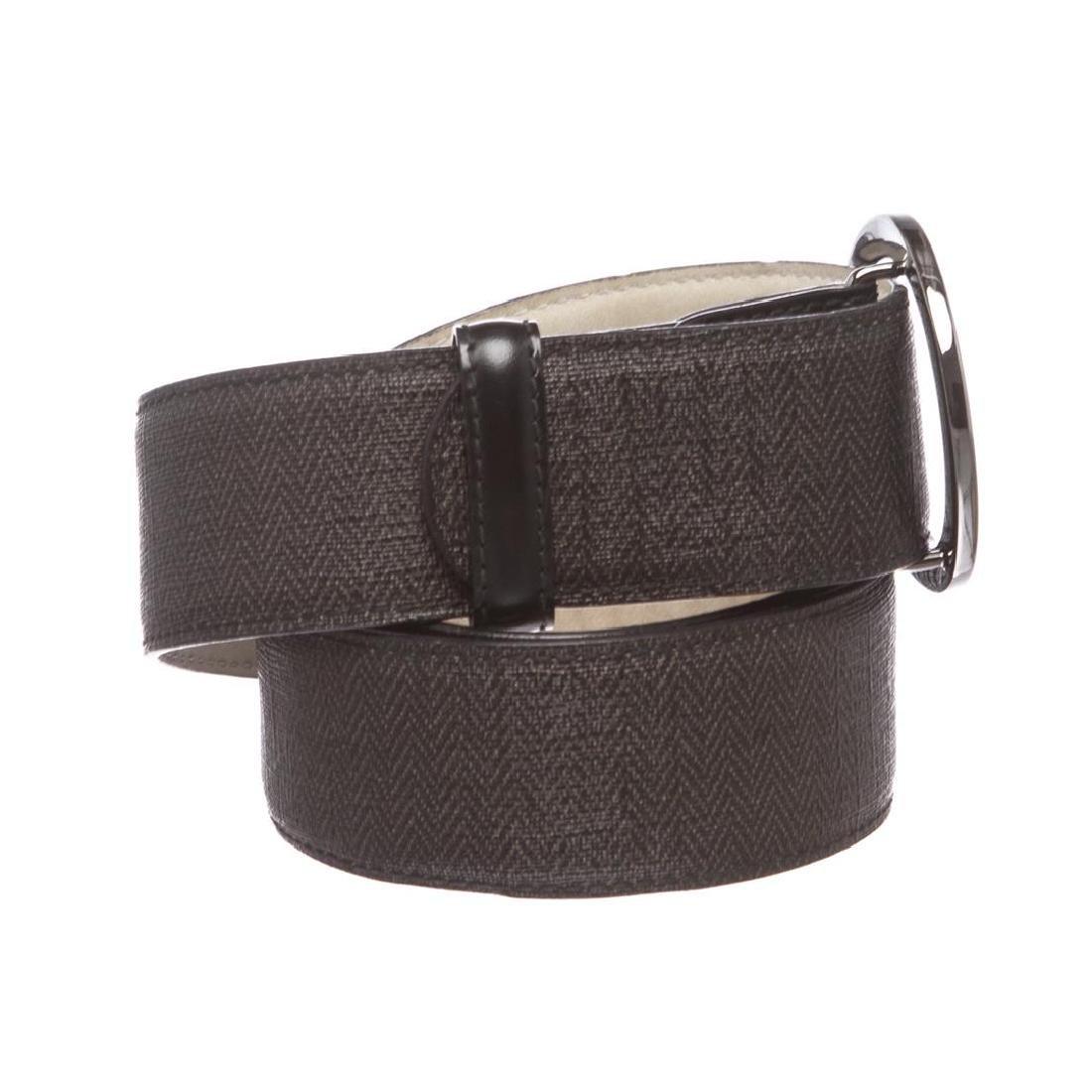 Bvlgari Black Gray Coated Canvas Leather Belt - 2
