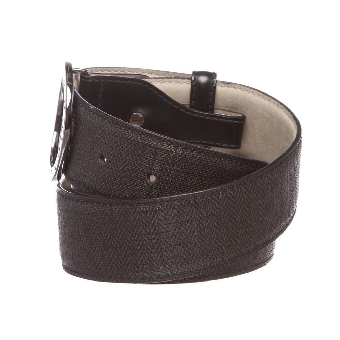 Bvlgari Black Gray Coated Canvas Leather Belt - 4