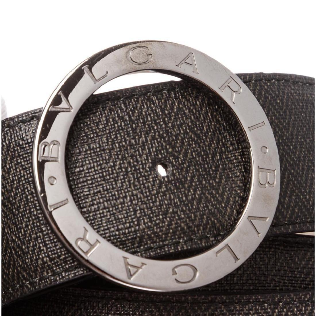 Bvlgari Black Gray Coated Canvas Leather Belt - 6