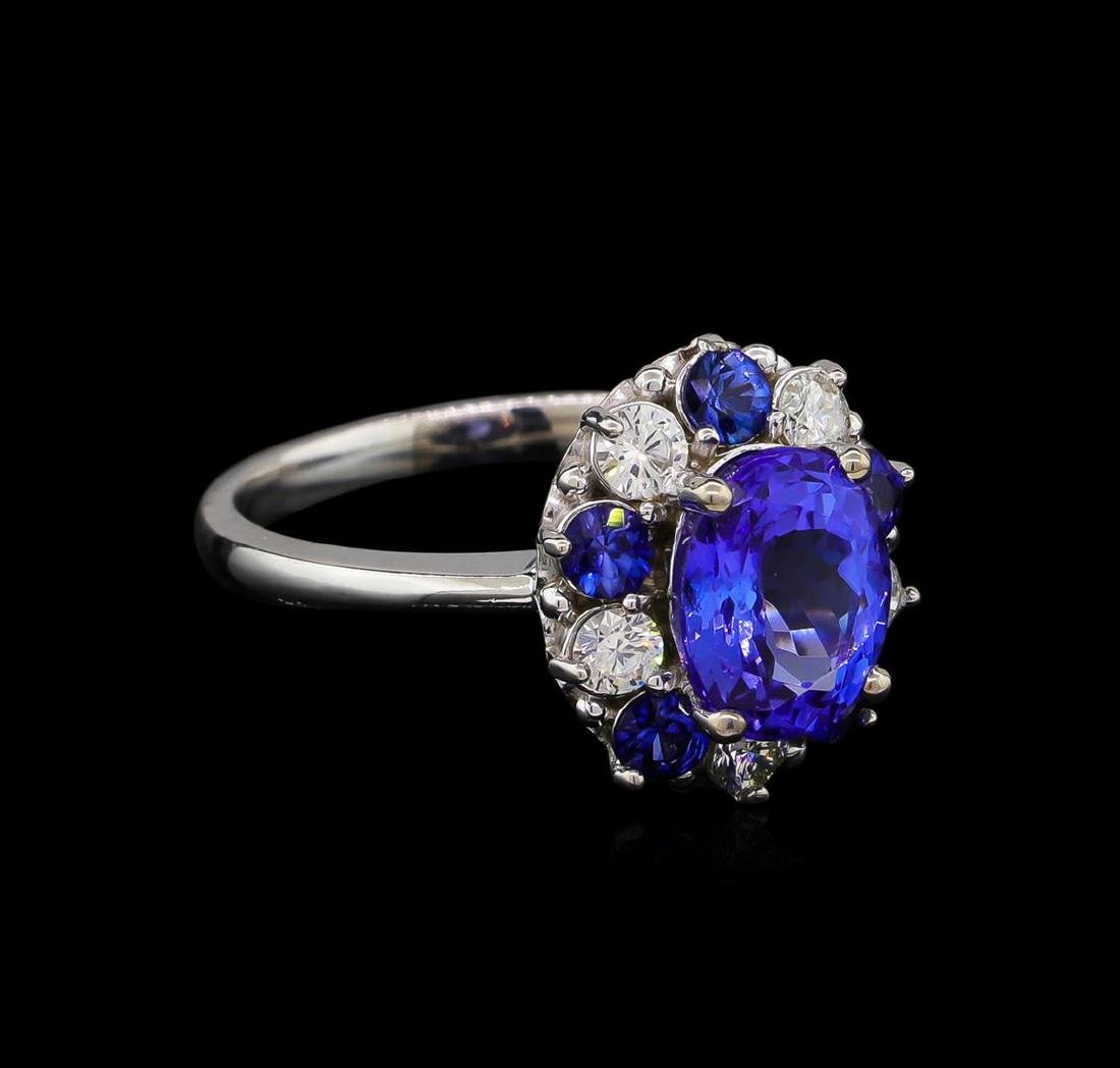 2.55 ctw Tanzanite, Sapphire and Diamond Ring - 14KT