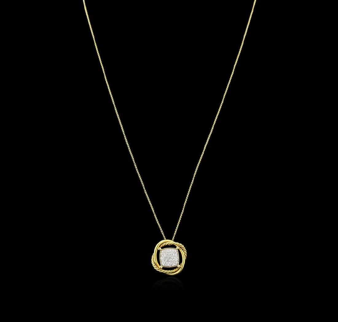 0.46 ctw Diamond Pendant With Chain - 18KT Yellow Gold - 2