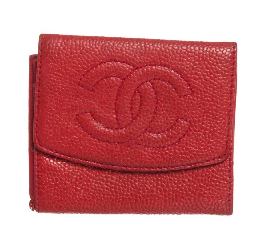 e9d0e7fb4ce5 Chanel Red Caviar Leather Compact Coin Wallet