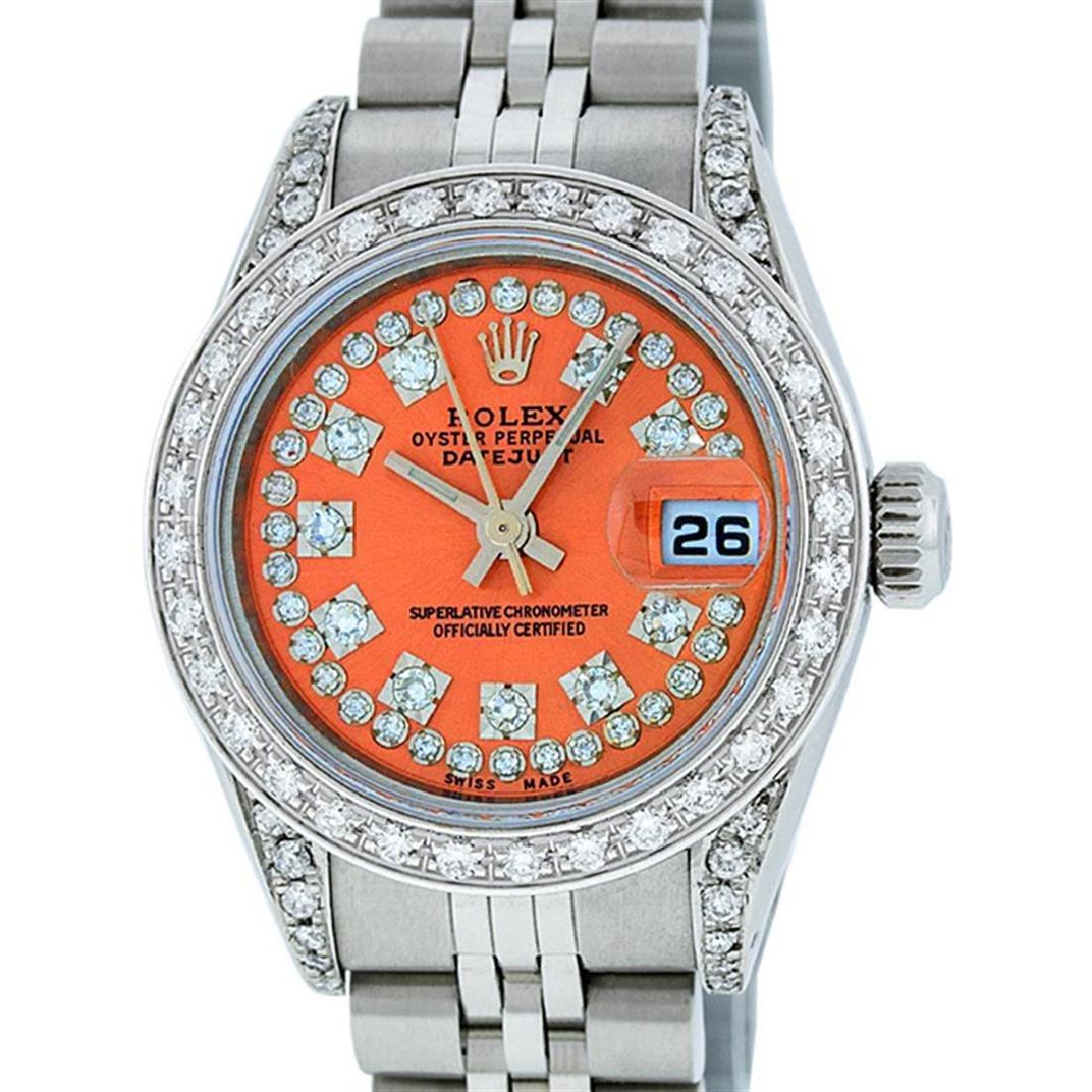 Rolex Ladies Stainless Steel 26MM Orange String Diamond
