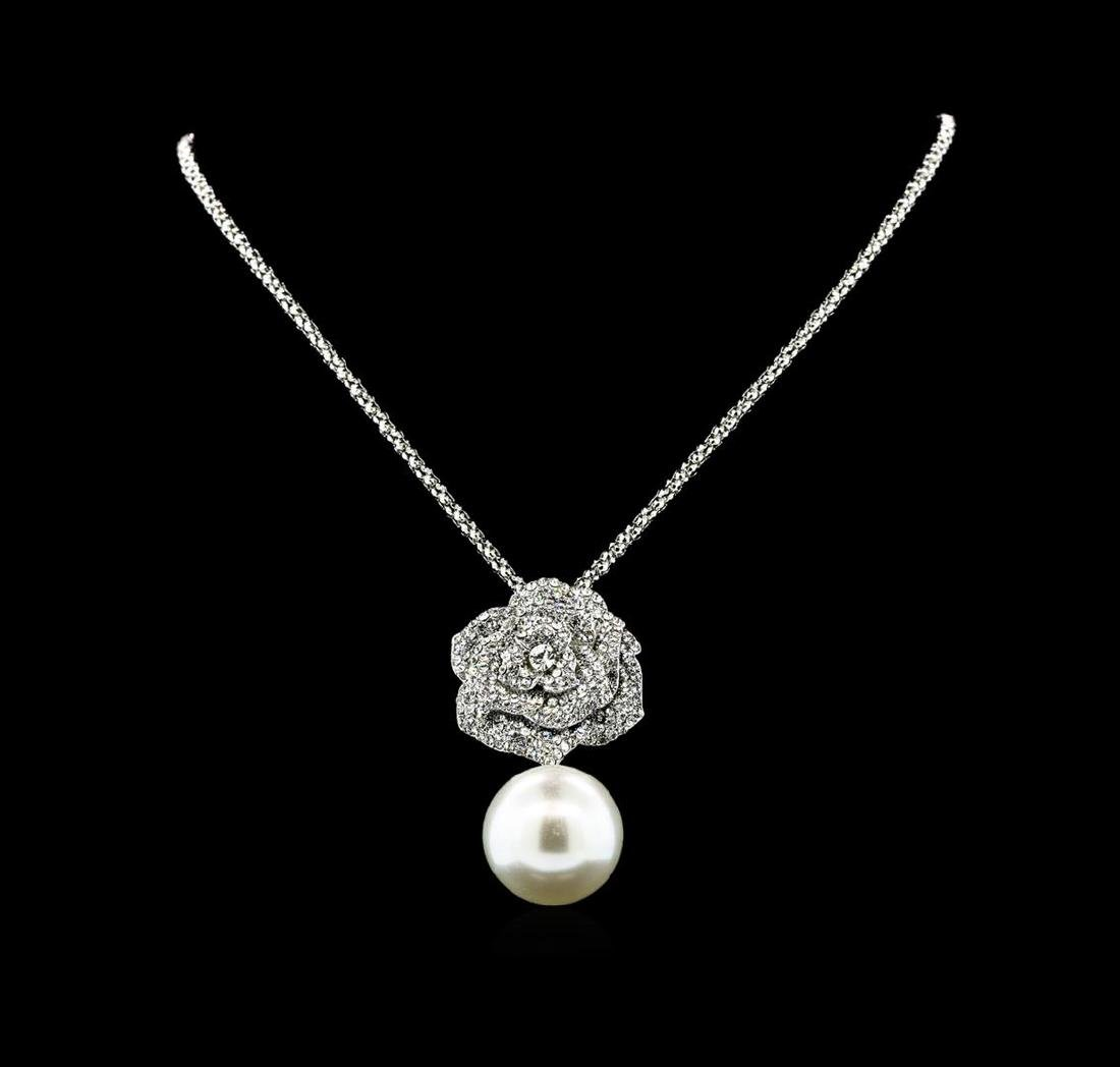 25mm Seashell Crystal Rose Pendant - Silver Plated - 2