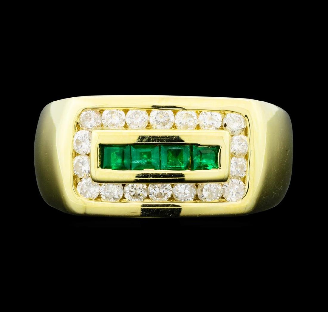 0.32 ctw Emerald and Diamond Ring - 14KT Yellow Gold - 2