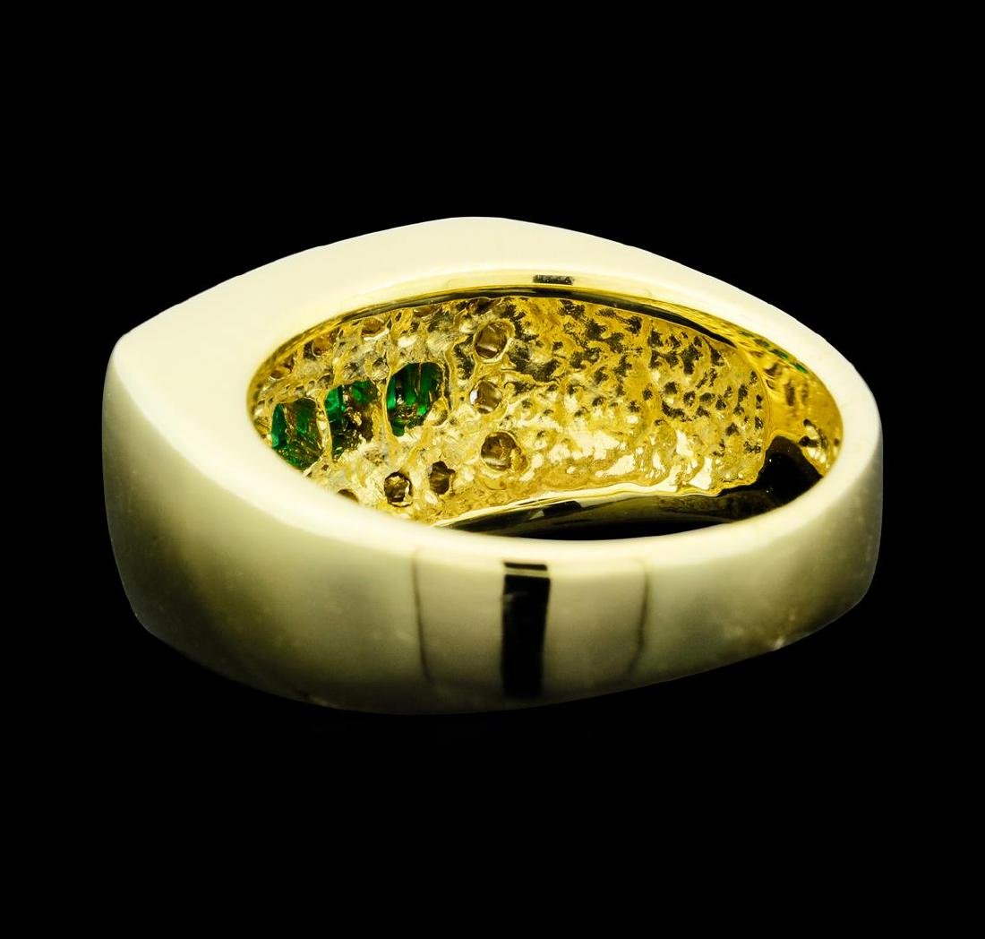 0.32 ctw Emerald and Diamond Ring - 14KT Yellow Gold - 3