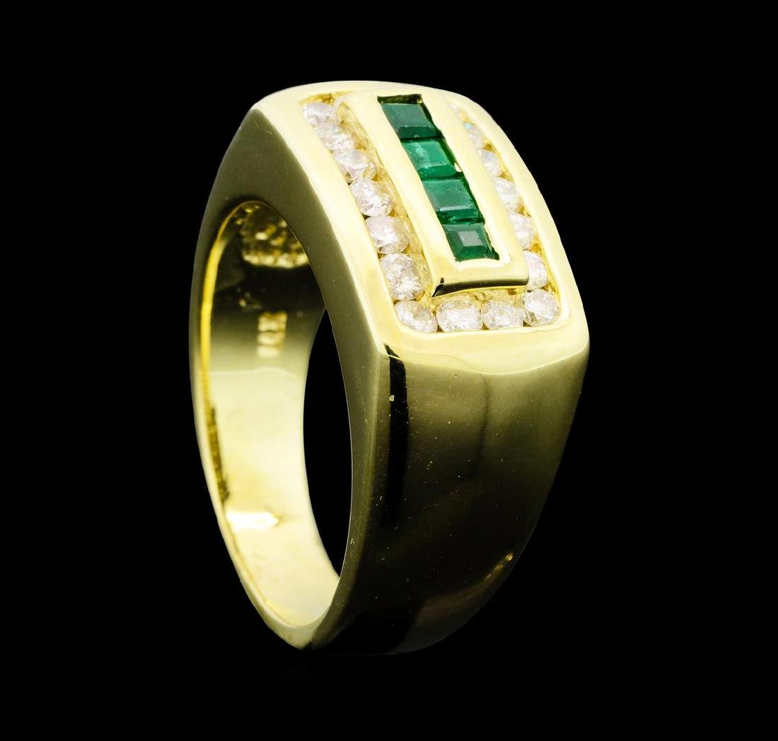 0.32 ctw Emerald and Diamond Ring - 14KT Yellow Gold - 4