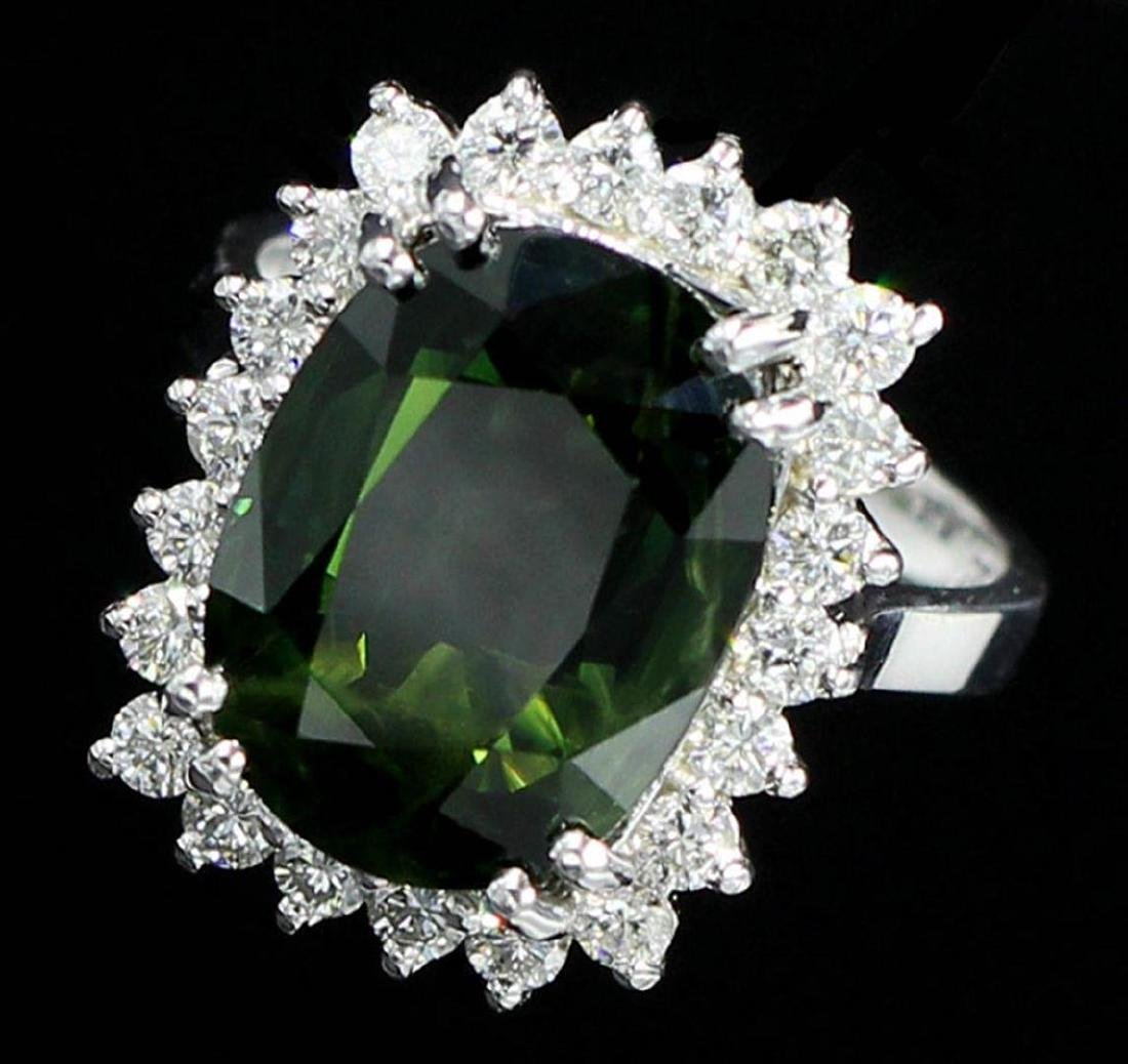 9.75 ctw Green Sapphire and Diamond Ring - 14KT White - 2