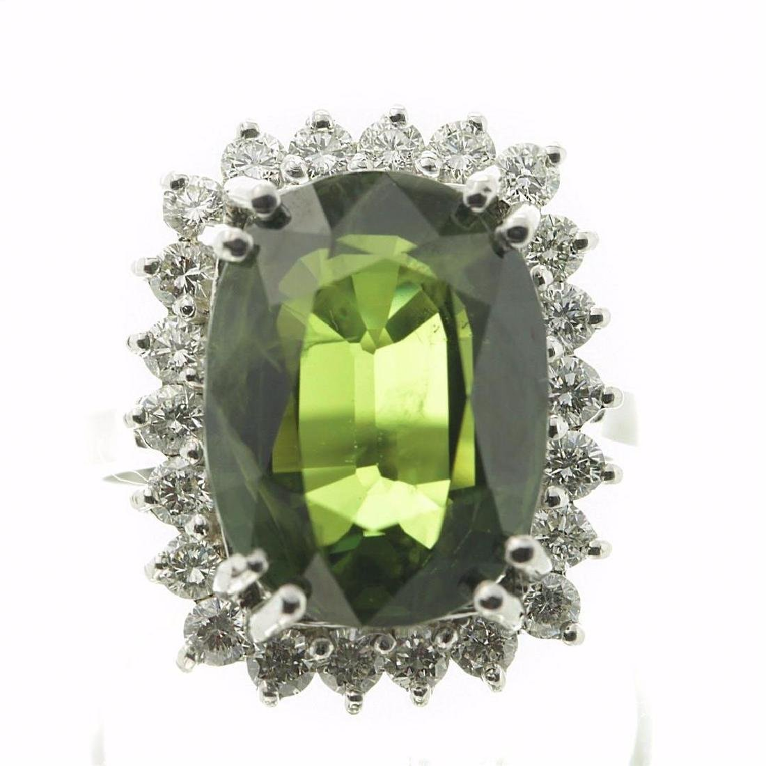 9.75 ctw Green Sapphire and Diamond Ring - 14KT White - 3