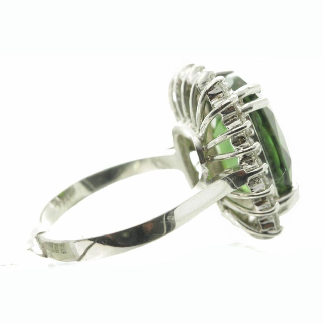 9.75 ctw Green Sapphire and Diamond Ring - 14KT White - 5