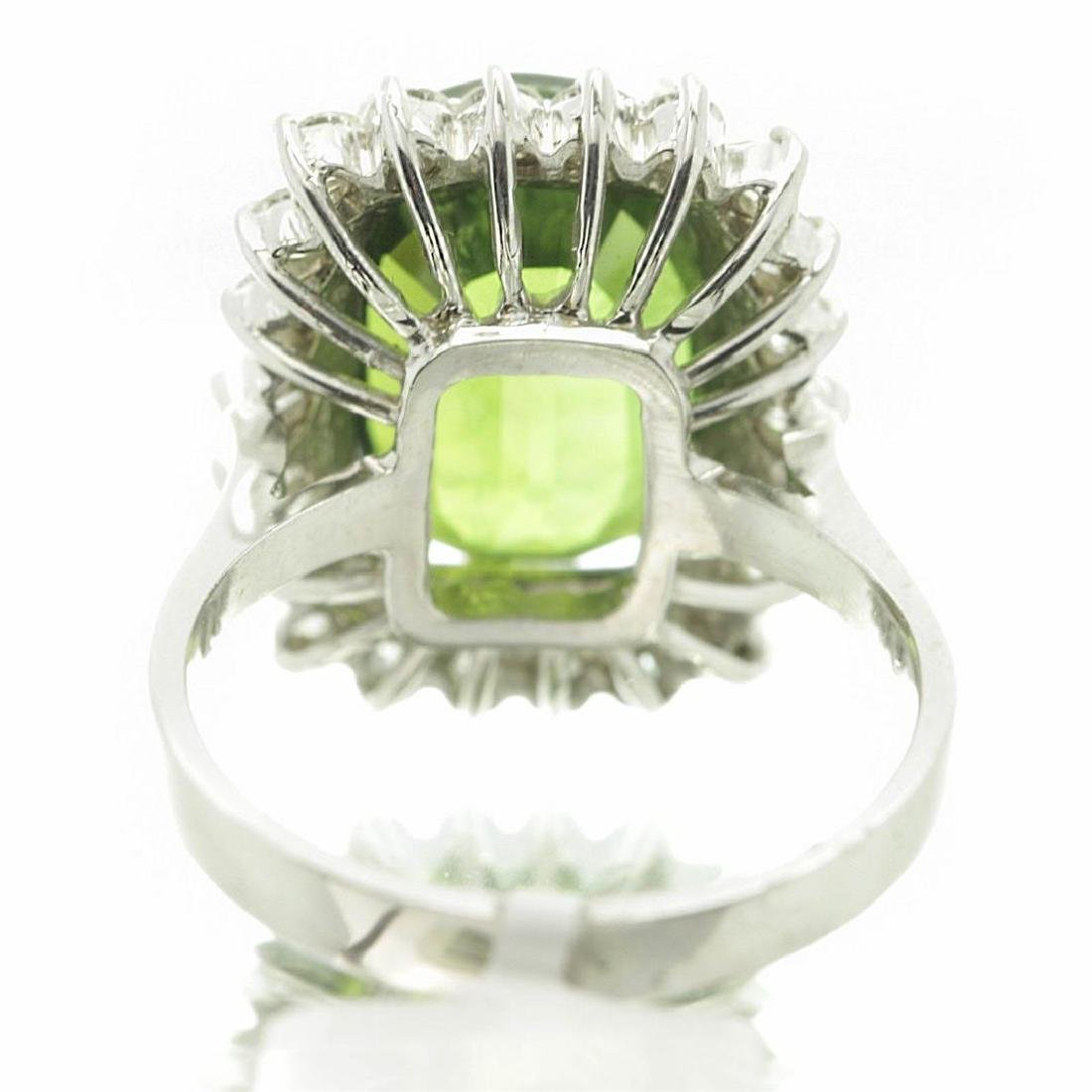 9.75 ctw Green Sapphire and Diamond Ring - 14KT White - 6