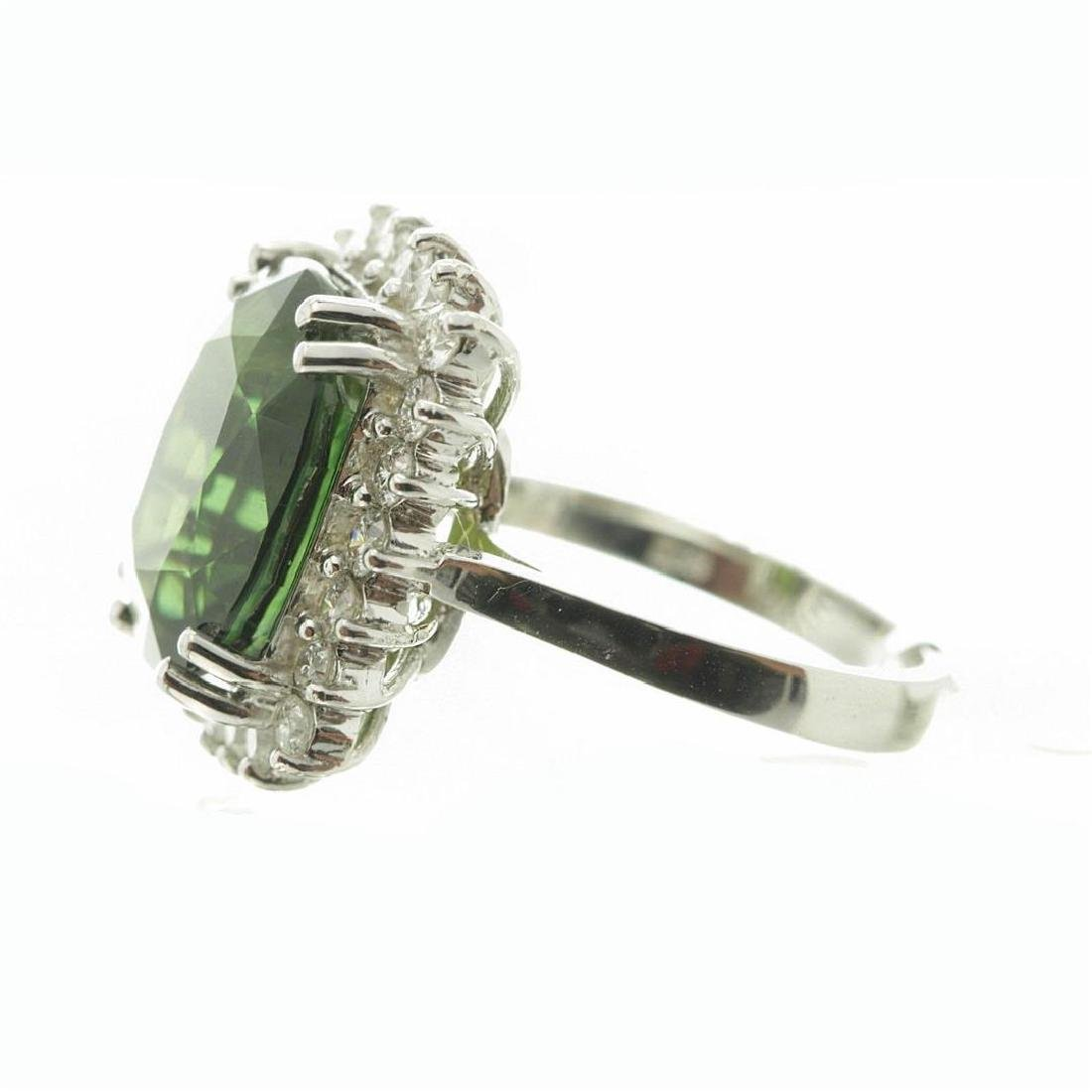 9.75 ctw Green Sapphire and Diamond Ring - 14KT White - 7
