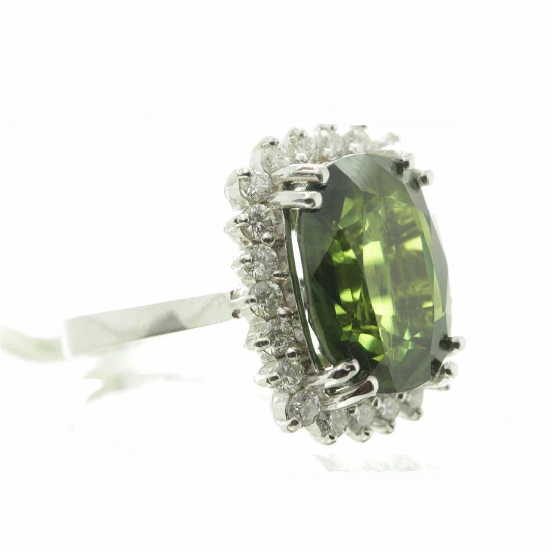 9.75 ctw Green Sapphire and Diamond Ring - 14KT White - 8