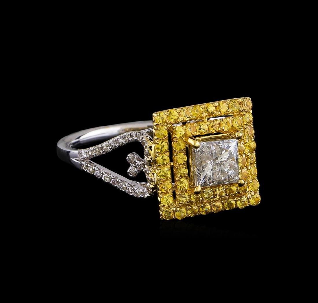 0.85 ctw Diamond and Yellow Sapphire Ring - 14KT Yellow