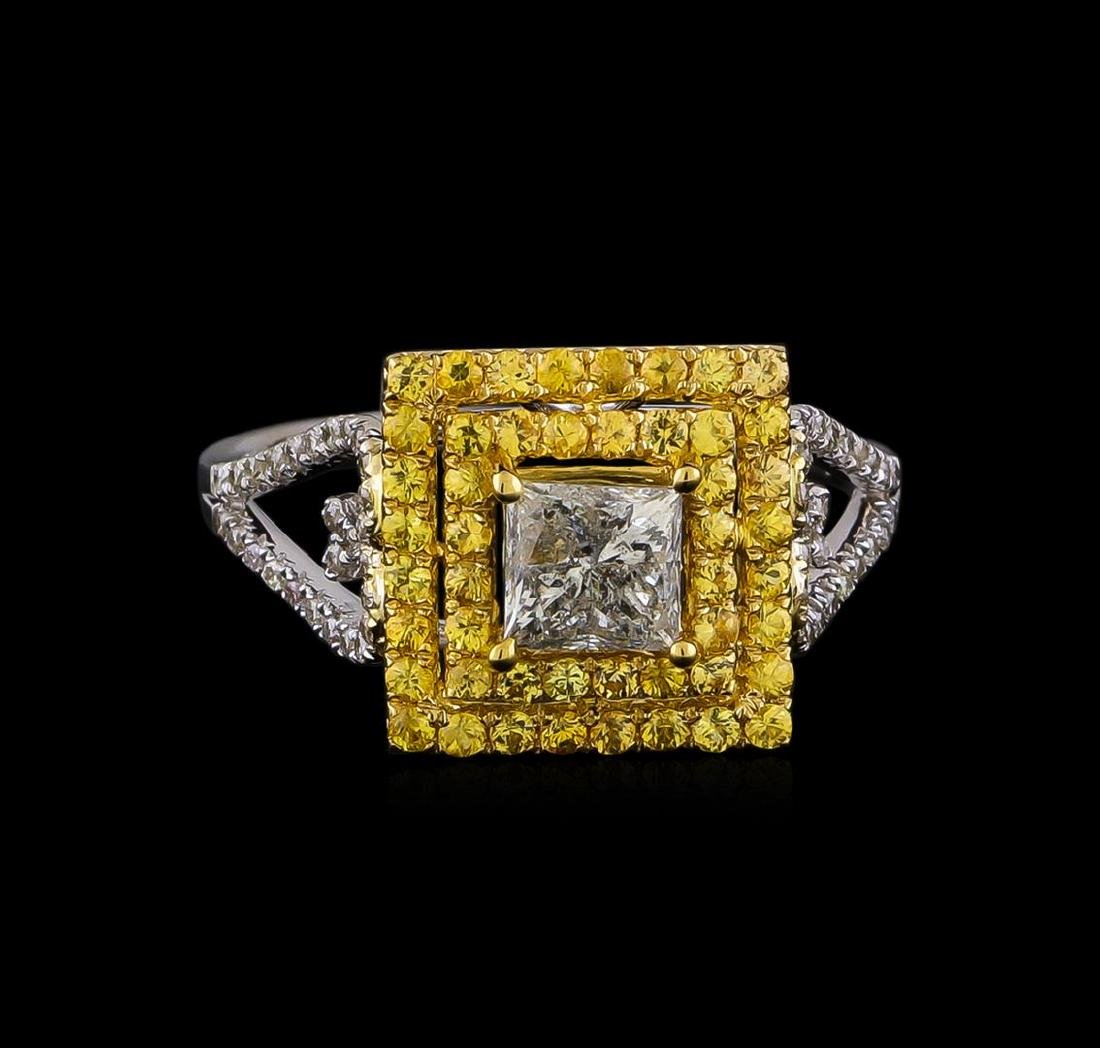 0.85 ctw Diamond and Yellow Sapphire Ring - 14KT Yellow - 2