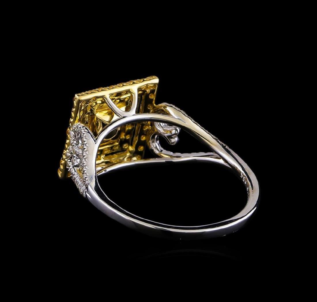 0.85 ctw Diamond and Yellow Sapphire Ring - 14KT Yellow - 3