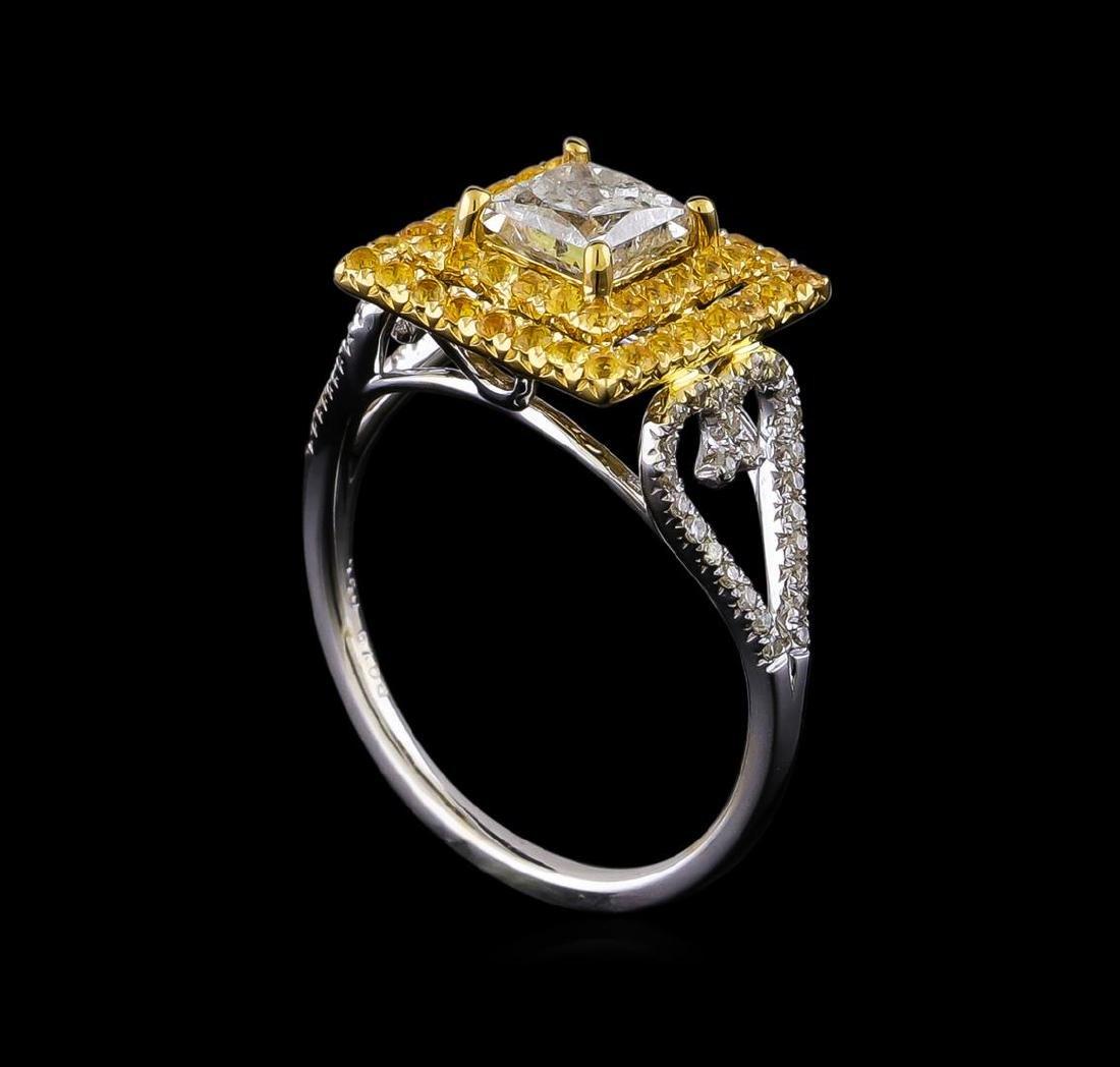 0.85 ctw Diamond and Yellow Sapphire Ring - 14KT Yellow - 4