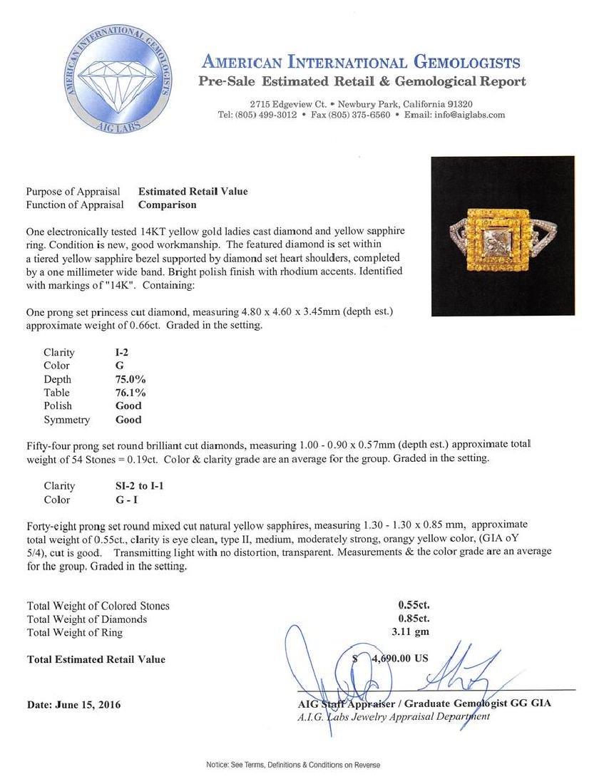 0.85 ctw Diamond and Yellow Sapphire Ring - 14KT Yellow - 5