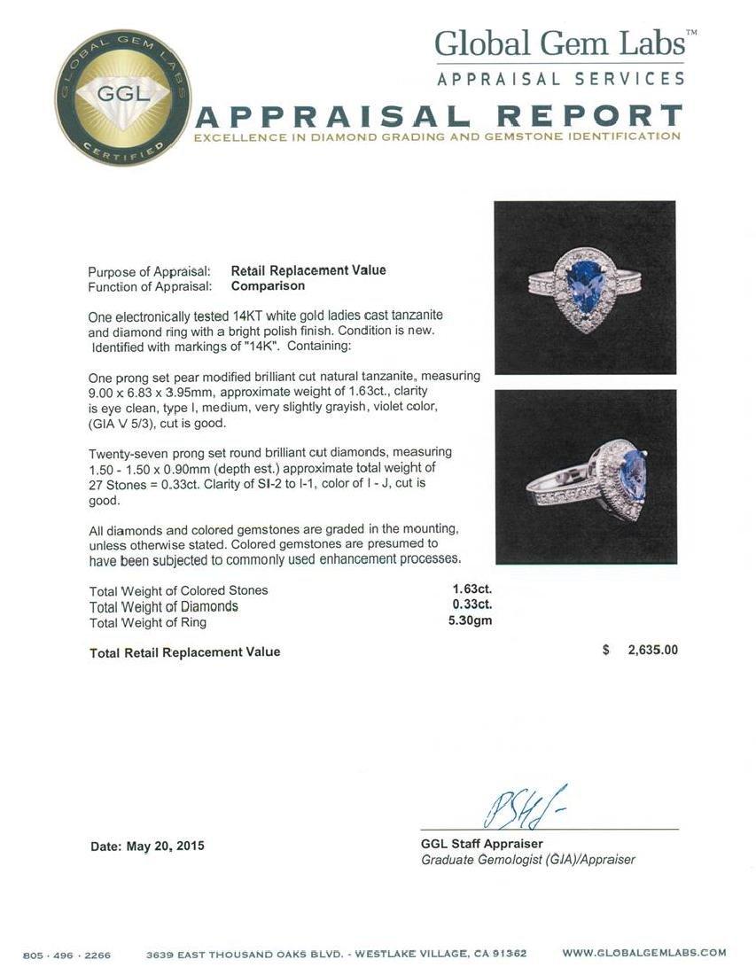 14KT White Gold 1.63 ctw Tanzanite and Diamond Ring - 4