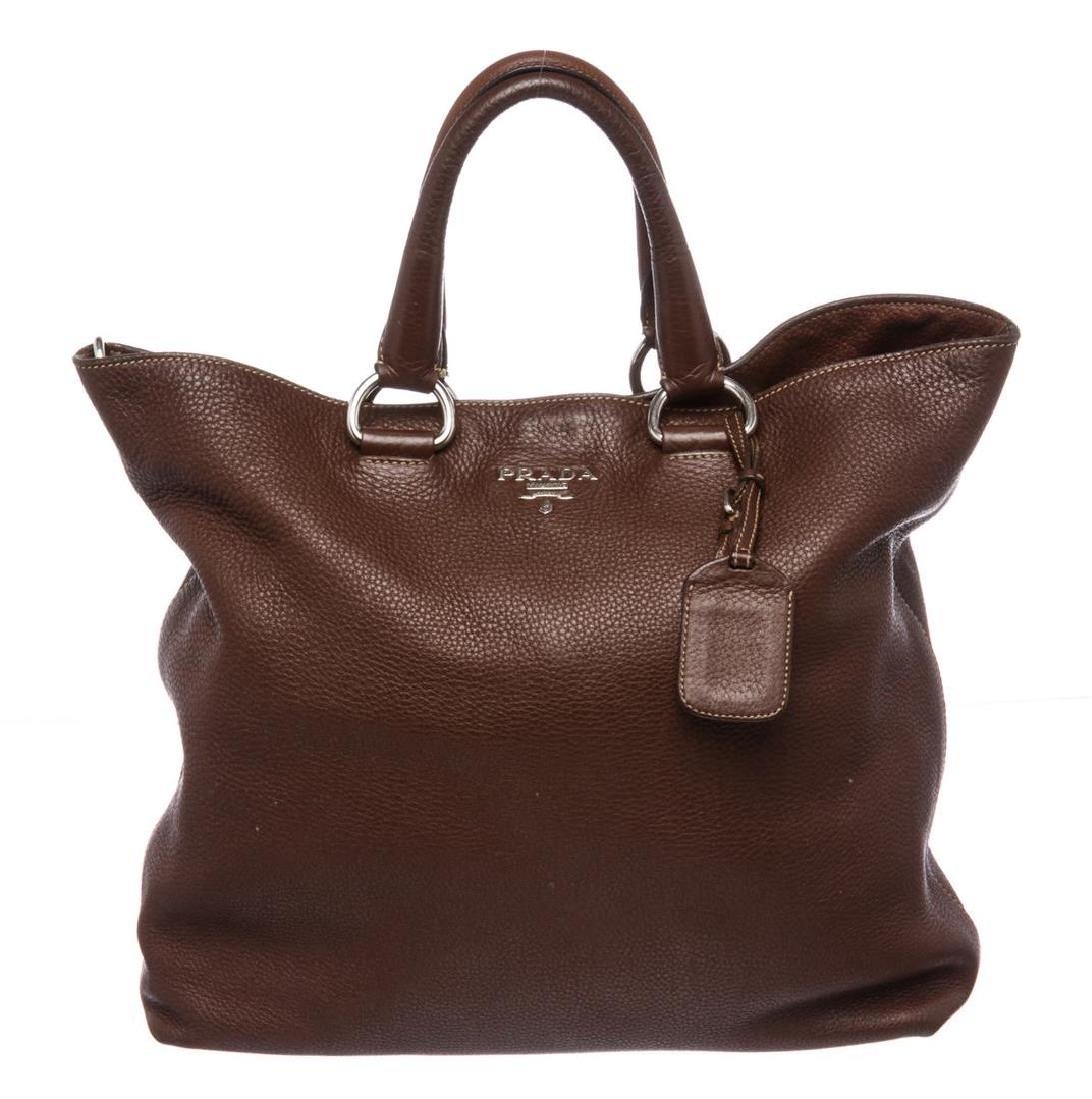 Prada Brown Pebbled Leather Tote Satchel Bag