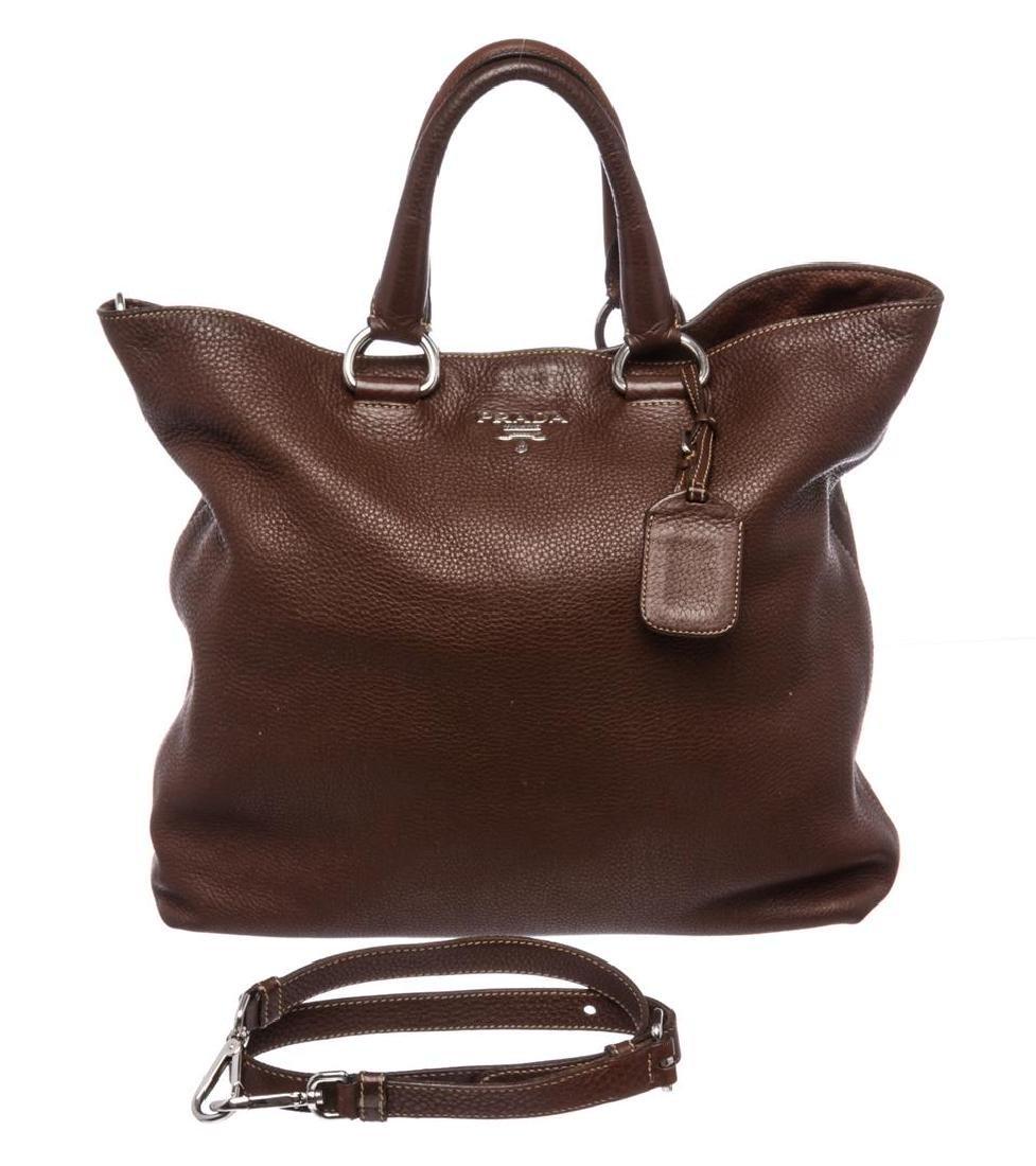 Prada Brown Pebbled Leather Tote Satchel Bag - 2