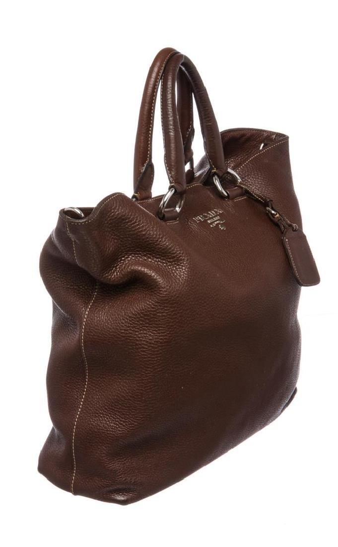 Prada Brown Pebbled Leather Tote Satchel Bag - 3