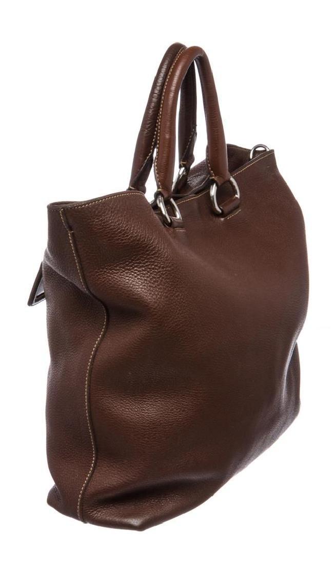 Prada Brown Pebbled Leather Tote Satchel Bag - 4