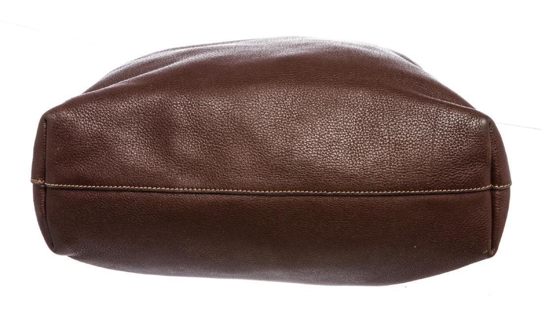 Prada Brown Pebbled Leather Tote Satchel Bag - 5