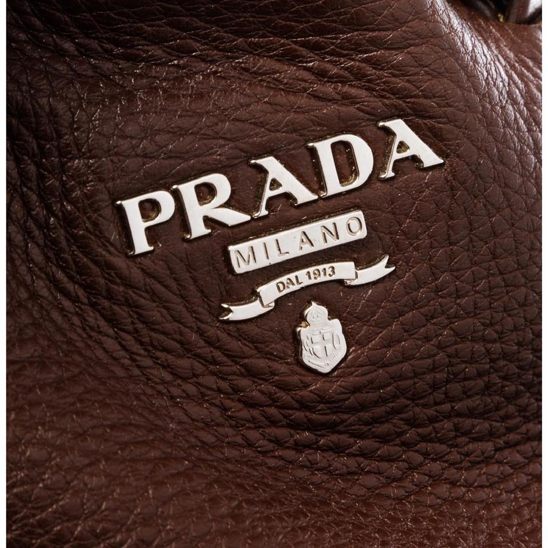 Prada Brown Pebbled Leather Tote Satchel Bag - 6