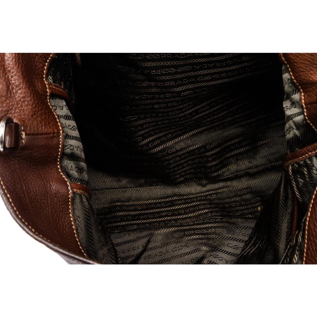 Prada Brown Pebbled Leather Tote Satchel Bag - 7